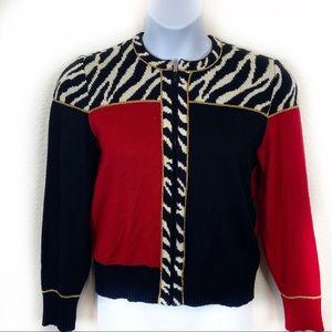 Vintage Color Block Zebra Zip Cardigan Made in USA
